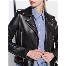 Women's Leather Jacket Daily Regular Solid Colored Black / Beige S / M / L Black,S