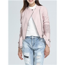 Women's Leather Jacket Daily Short Solid Colored Blushing Pink M / L / XL Blushing Pink,M