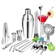 Cocktail Set 22pcs Barware Tools Cocktails Mixer Whiskey Rum Liqueur Shaker Making Kits Silver
