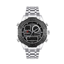DIOUCE Men's Digital Watch Digital Modern Style Sporty Casual Calendar / date / day Stainless Steel Silver Analog - Digital - Black / Silver Red+Silver Golden+Silver Black / Silver