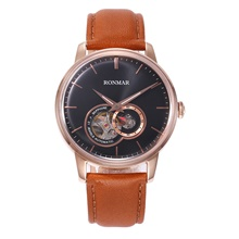 RONMAR Men's Mechanical Watch Automatic self-winding Modern Style Stylish Casual Water Resistant / Waterproof Leather Analog - Black / Orange Black Blue / Stainless Steel Black / Orange
