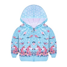Kids Toddler Girls' Active Vintage Unicorn Floral Regular Jacket & Coat Blue Blue,3-4 Years(110cm)