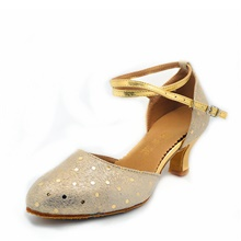 Women's Dance Shoes Modern Shoes Heel MiniSpot Cuban Heel Customizable Gold / Silver 2 1/4' (5.4cm)  Cuban Heel,Gold,US4-4.5 / EU34 / UK2-2.5 / CN33