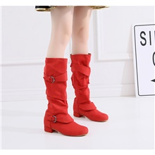 Women's Dance Shoes Dance Boots Heel Buckle Flat Heel Customizable Red 1''(2.5cm)Thick Heel,Red,US4-4.5 / EU34 / UK2-2.5 / CN33