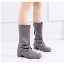 Women's Dance Shoes Dance Boots Boots Chain Flat Heel Customizable Dark Gray 1''(2.5cm)Thick Heel,Dark Gray,US4-4.5 / EU34 / UK2-2.5 / CN33