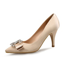 Women's Wedding Shoes Spring Fall Pumps Pointed Toe Wedding Party & Evening Rhinestone Crystal Satin Almond / Black / Red Almond,US4-4.5 / EU34 / UK2-2.5 / CN33