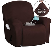 Stretch Recliner Slipcovers 1-Piece Modern Solid color waterproof suede Sofa Furniture Protector Fit Stretch Stylish Recliner Cover Chair Cover,Dark Brown,1,One-Size
