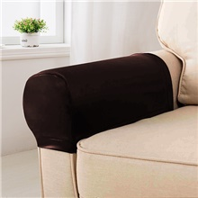 Elastic PU Leather Waterproof Stretch Armrest Covers Anti-Slip Furniture Protector Armchair Slipcovers 1 Set of 2 Sofa Cover,Dark Brown,2,One-Size