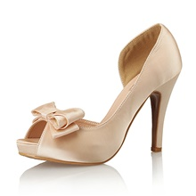 Women's Wedding Shoes Pumps Peep Toe Wedding Party & Evening Bowknot Satin Almond / White / Black Almond,US5 / EU35 / UK3 / CN34