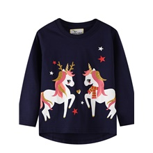 Kids Girls' Basic Unicorn Animal Print Long Sleeve Tee Dusty Blue Dusty Blue,3-4 Years(110cm)