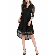 Women's Sheath Dress Knee Length Dress - Half Sleeve Solid Color Lace Patchwork Spring Summer Casual Daily 2020 Wine Black Blue S M L XL XXL Black,S
