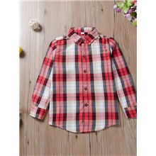 Kids Girls' Active Basic Check Print Long Sleeve Shirt Red Red,3-4 Years(110cm)