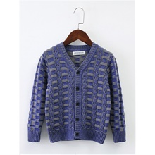 Kids Boys' Basic Houndstooth Long Sleeve Sweater & Cardigan Blue Blue,3-4 Years(110cm)