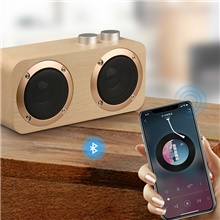 Q7 Bluetooth Soundbar with 2 Speakers 16W Stereo Hifi Subwoofers Wood Wireless Loudspeaker Knob Button AUX USB TF MP3 Player Buff