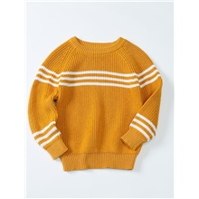 Kids Boys' Basic Striped Long Sleeve Sweater & Cardigan Light Brown Yellow,3-4 Years(110cm)