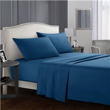 4 Piece Solid Color Bedding Sheets-Deep Pocket Warm-Super Soft-Breathable & Moisture Wicking Bed Sheets Set Include 1 Flat Sheet 1 Fitted Sheet 1 or 2 Pillowcases Single / Twin Size,Navy