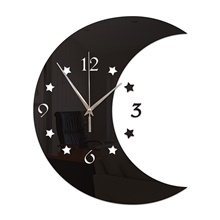 3D DIY Wall Clock Decor Sticker Mirror Moon Shape DIY Acrylic Wall Clock Kit for Home Living Room Bedroom Office Decoration Black