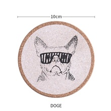 4-Piece Coaster Bull Dog Cork Round Shape 4 PCS,Bulldog