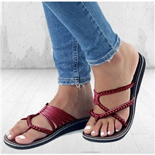 Women's Slippers & Flip-Flops Flat Heel Round Toe Daily Solid Colored Linen Wine / White / Black Wine,US6 / EU36 / UK4 / CN36