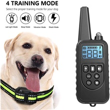 Dog Training Shock Collar LCD Electric Dog Pets Reflective Trainer Anti Bark Behaviour Aids Obedience Training For Pets Black