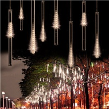 50cm 100-240V Outdoor Meteor Shower Rain 24 Tubes LED String Lights Waterproof For Christmas Wedding Party Decorationfor Christmas Trees Halloween Decoration Holiday Wedding Warm White,AC100-240V,EU Plug