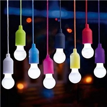 Colorful Light Bulb Chandelier Portable LED Pull Cord Light Bulb Outdoor Garden Camping Hanging LED Light Lamp Random Color,1