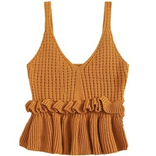 Women's Casual Knit Top Sleeveless Ruffle Hem V Neck Peplum Crop Tank Top Yellow,M