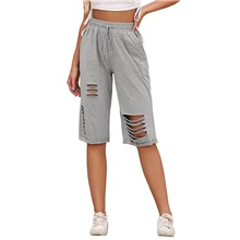 Women's Basic Daily Chinos Shorts Pants - Solid Colored Cut Out Sports Gray S / M / L Gray,S