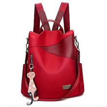 Large Capacity Commuter Backpack Women's Oxford Cloth Daily Wine Wine