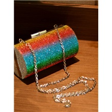 Women's Bags Polyester Evening Bag Crystals / Chain for Wedding / Event / Party Rainbow / Wedding Bags Rainbow