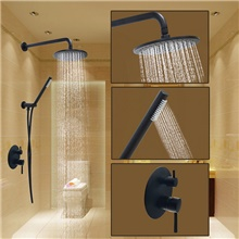 Shower Set Set - Rainfall Round Oil-rubbed Bronze Wall Mounted Ceramic Valve Bath Shower Mixer Taps Other Countries