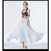 Belly Dance Skirts Copper Coin Beading Women's Training Performance Sleeveless Dropped Satin Polyester White,S