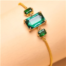 Women's Dark Green Cubic Zirconia Chain Bracelet Crystal Bracelet Geometrical Lucky Classic Trendy Casual / Sporty Korean Fashion Copper Bracelet Jewelry Gold For Party Gift Street Work Club Gold