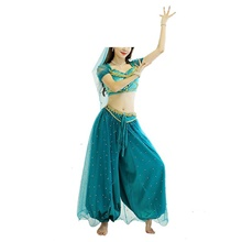 Belly Dance Top Lace Pleats Pearls Women's Training Performance Short Sleeve Dropped Satin Polyester Lake Blue,S