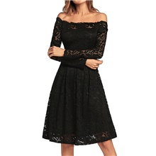 Women's A-Line Dress Knee Length Dress - Long Sleeve Solid Color Lace Patchwork Summer Casual Daily 2020 Black Purple Red Royal Blue S M L XL XXL Black,S