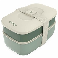 classic - all-in-one stackable bento lunch box container - modern bento-style design includes 2 stackable containers, built-in plastic utensil set, and nylon sealing strap (khaki green)