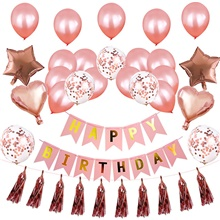 Party Balloons 24+12 pcs Star Party Supplies Latex Balloons Banner Boys and Girls Party Birthday Decoration 12inch for Party Favors Supplies or Home Decoration Rose Gold