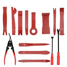 19pcs Car Auto Trim Removal Tool Pry Kit Car Panel Tool Radio Removal Tool Kit Auto Clip Pliers Fastener Remover Pry Tool Kit Car Upholstery Repair Tools with Storage Bag Red
