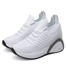 Women's Sneakers Hidden Heel Round Toe Casual Daily Outdoor Tissage Volant White / Black White,US4-4.5 / EU34 / UK2-2.5 / CN33