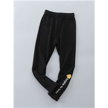 Kids Girls' Basic Solid Colored Pants Black Black,3-4 Years(110cm)