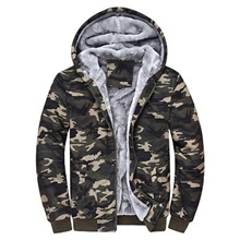 Men's Hiking Fleece Jacket Outdoor Camo Windproof Fleece Lining Warm Comfortable Winter Jacket Full Length Visible Zipper Climbing Camping / Hiking / Caving Traveling Camouflage / Blue Camouflage,M
