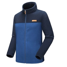 Men's Hiking Fleece Jacket Outdoor Patchwork Windproof Breathable Warm Antistatic Winter Jacket Full Length Visible Zipper Climbing Camping / Hiking / Caving Traveling Blue / Grey Blue,M