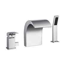 Bathtub Faucet - Chrome Finish Waterfall Spout Bath Tub and Shower Mixer Tap NPT1/2' United state / Canada