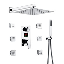 Shower Faucet Set - Handshower Included Rainfall Shower Multi Spray Shower Contemporary Chrome / Nickel Brushed Wall Installation Ceramic Valve Bath Shower Mixer Taps Chrome,NPT1/2' United state / Canada