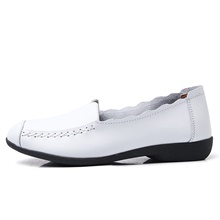 Women's Loafers & Slip-Ons Flat Heel Round Toe Casual Daily Office & Career Leather White / Black / Blue White,US5 / EU35 / UK3 / CN34