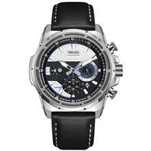SMAEL Men's Dress Watch Quartz Stylish Casual Calendar / date / day Leather Brown Analog - Black / Silver Black+Gloden Blue One Year Battery Life Black / Silver