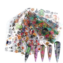 10 Sheets Nail Stickers Halloween Hulk Pumpkin Skull for DIY Nail Art Decorations 1#