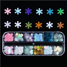 Christmas 12-Frame Laser Snowflake Flake Bottle Winter Nail Illusion Trend Sequins 1#