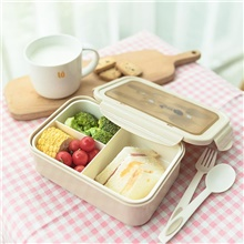 bento boxes for adults - 1100 ml bento lunch box for kids childrens with spoon & fork - durable, leak-proof for on-the-go meal, bpa-free and food-safe materials Beige