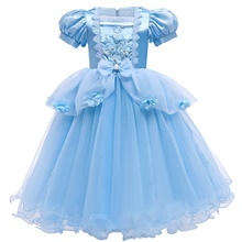 Cinderella Princess Dress Flower Girl Dress Girls' Movie Cosplay A-Line Slip Blue Dress Christmas Halloween Children's Day Polyester Blue,100cm